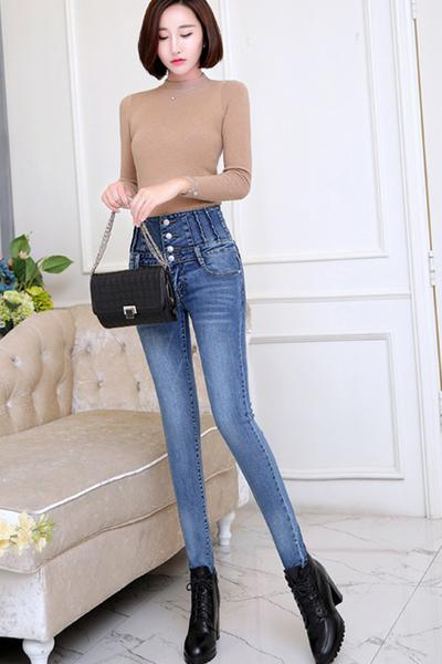 High Waist Buttons Solid Color Long Pencil Skinny Jeans
