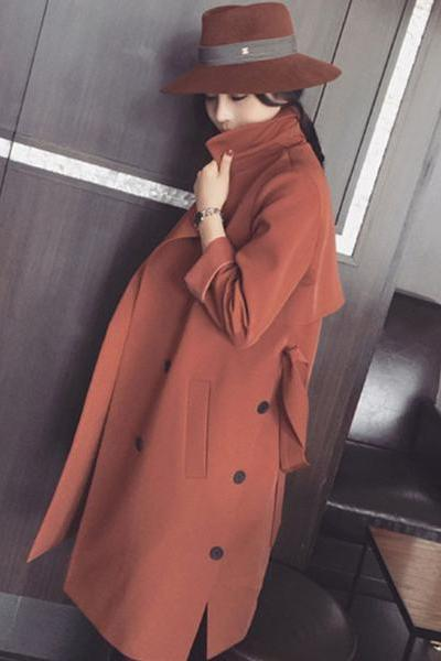 Pure Color Double Breasted Long Sleeves Slim Long Coat