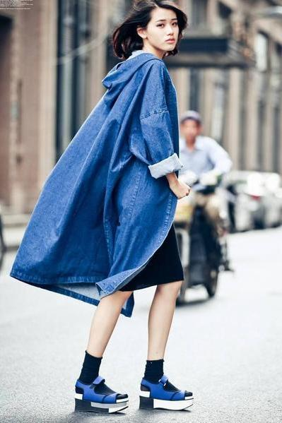 Loose Pure Color Hooded Long Over-knee Coat