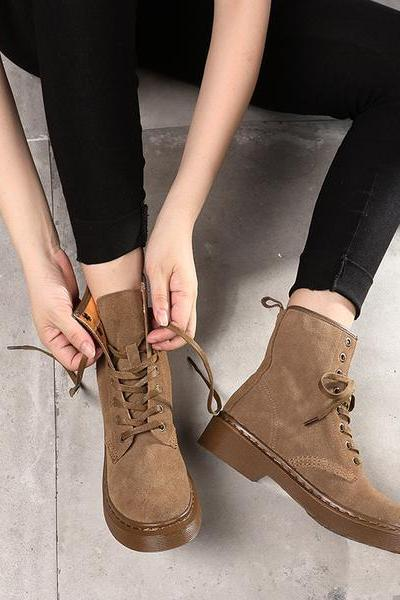 Leather Chunky Heel Round Toe Lace-Up Ankle Boots