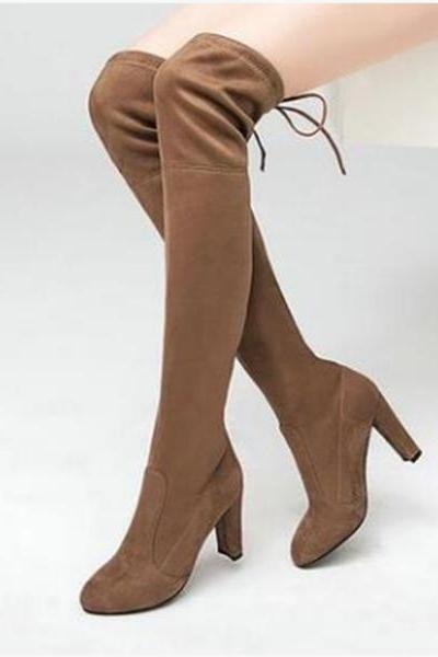 Faux Suede Rounded-Toe Over-The-Knee Chunky Heel Boots