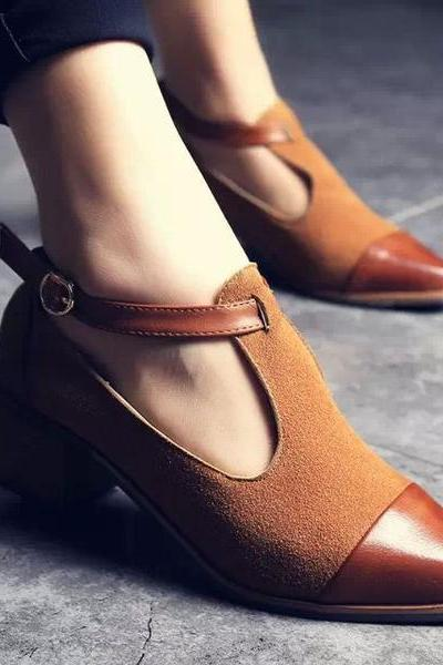 Pointed Toe Ankle Wrap Chunky Heel Casual Shoes