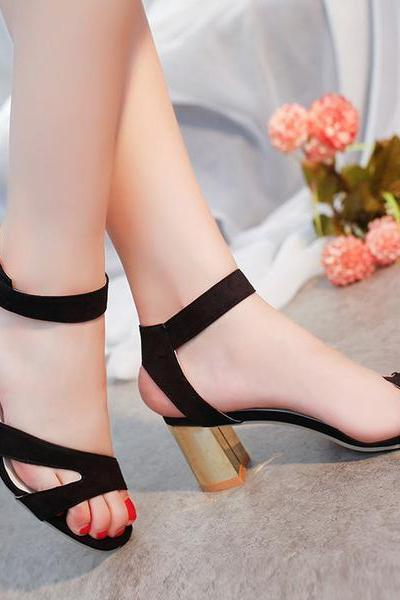 Suede Open-Toe Ankle Strap Chunky Heels