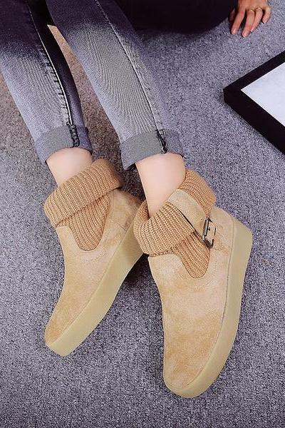 Curled Edge Patchwork Round Toe Flat Short Boots