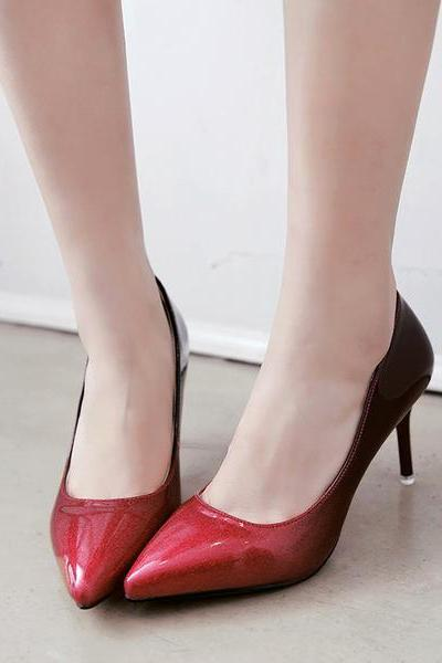 Gradient Patent Leather Pointed-Toe High Heel Stilettos