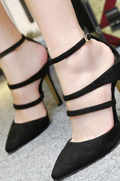 Pointed Toe Straps Ankle Wrap Party High Heels