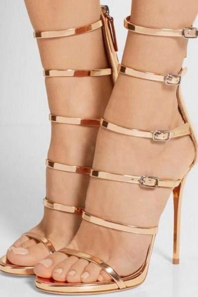 Metallic Open-Toe High Heel Sandals with Strappy Detailing