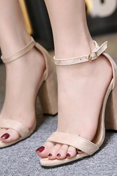 Solid Color Suede Ankle Wrap Open Toe Chunky High Heels Sandals