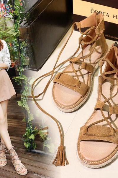 Lace Up Open Toe Flat Sandals