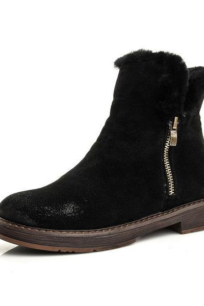 Side Zipper Round Toe Faux Fur British Martin Short Boots