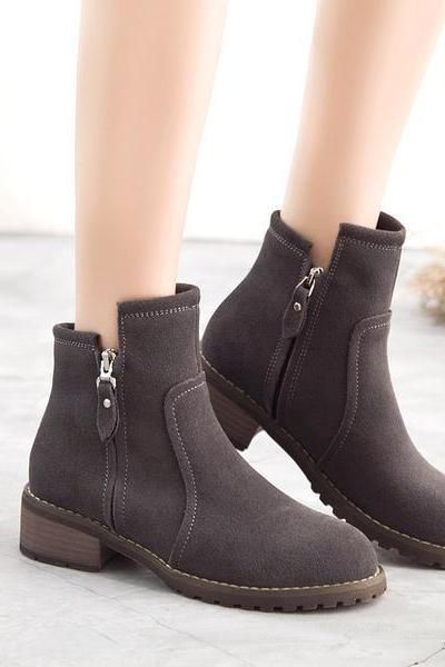 Side Zipper Round Toe Low Chunky Heels British Short Boots