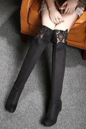 Round Toe Lace Patchwork Inside Heels Over Knee Boots