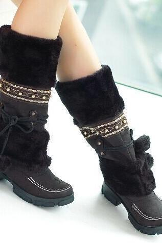 Faux Fur Ball Decorate Flat Half Snow Boots