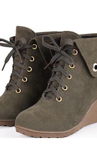 Curled Edge Lace UP Round Toe Wedge Short Boots