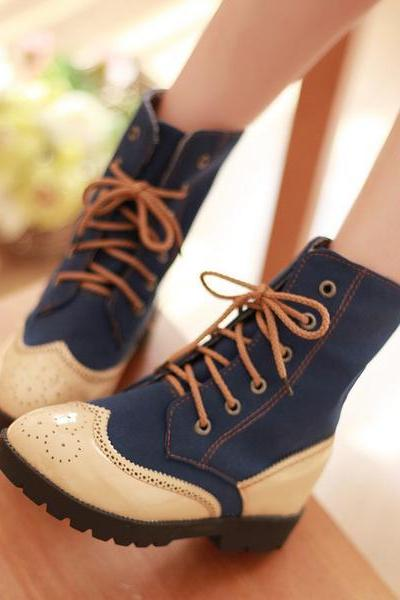 Patchwork Lace Up Round Tod Flat Short Boots
