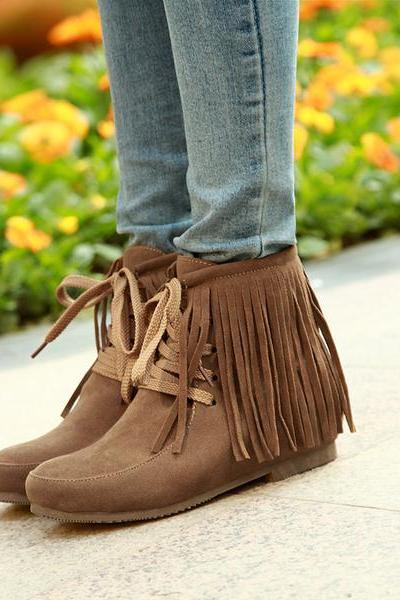 Retro Tassels Lace Up Round Toe Flat Short Boots