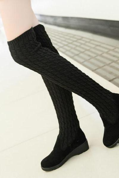 Round Toe Solid Color Over-knee Long Boots