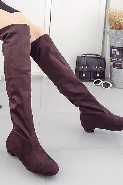 Solid Color Chunky Heels Over-knee Long Boots