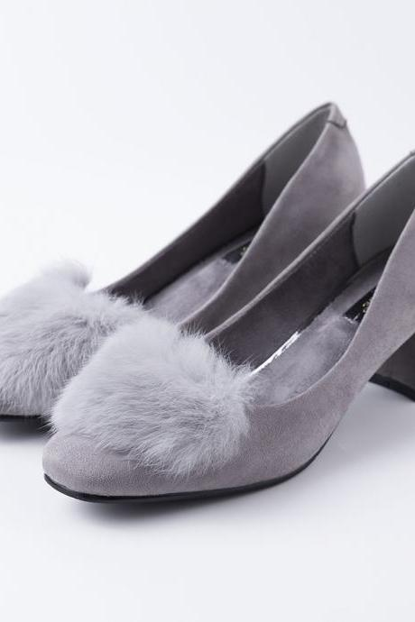 Faux Fur Decorate Round Toe Low Cut Low Chunky Heels Shoes