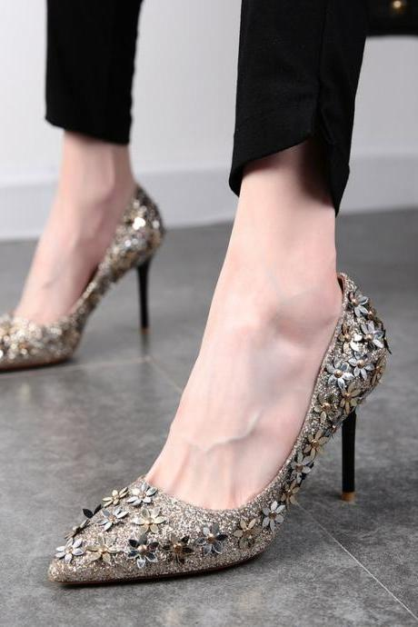 Glitters Pointed-Toe High Heel Stilettos Featuring Floral Embellishments, Party Heels
