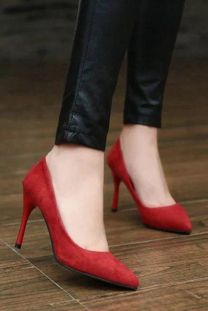 Faux Suede Pointed-Toe High Heel Stilettos