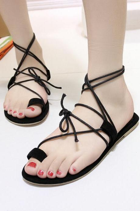 Roman Straps Lace Up Open Toe Flat Beach Sandals