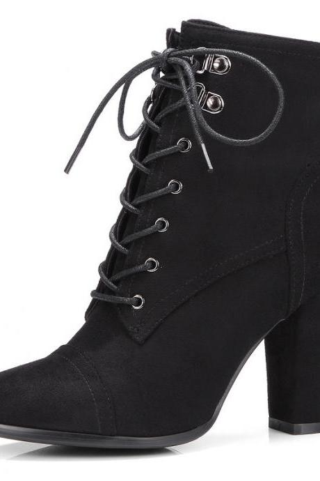 Pointed Lace Up Middle Chunky Heels Short Boots