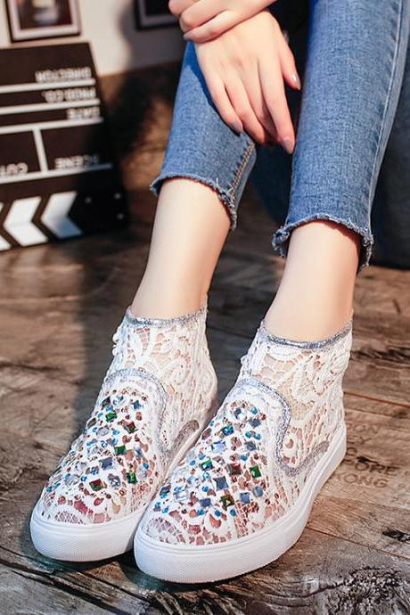 Crystal Lace Hollow Out Flat Casual Shoes