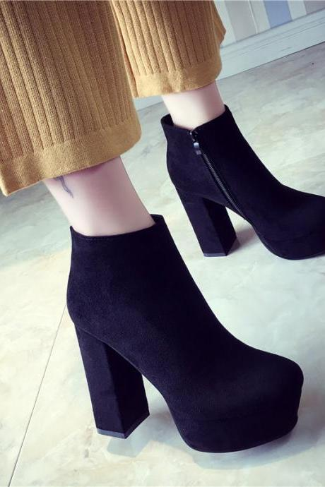 Side Zipper Pointed Toe Platform High Chunky Heels Short Boots