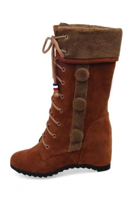 Round Toe Inside Heels Lace UP Wedge Half Boots
