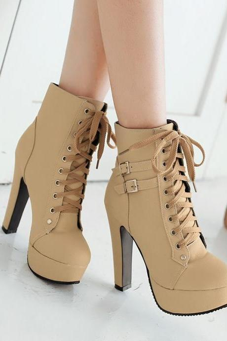 Lace Up Round Toe Platform Stiletto High Heels Short Martin Boots
