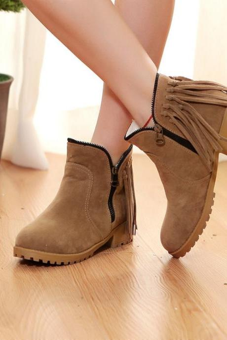 Tassels Zipper Decorate Round Toe Flat Short Boots