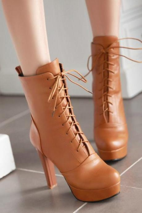 Lace Up Round Toe Platform Stiletto High Heels Short Boots