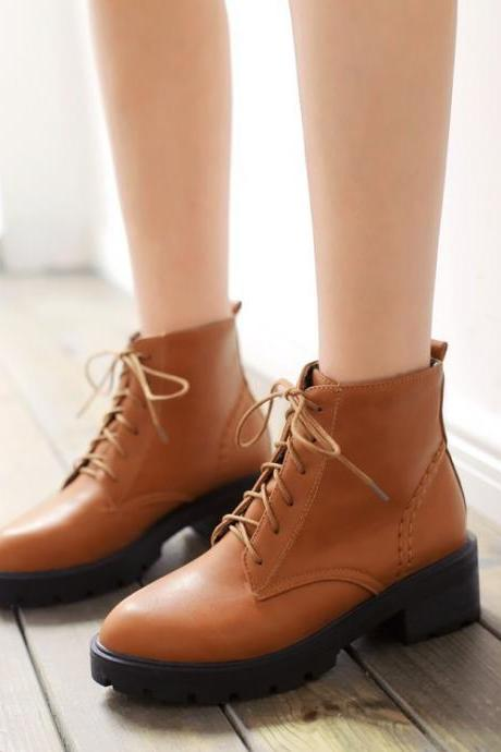 Platform Low Chunky Heels Lace Up Short Martin Boots