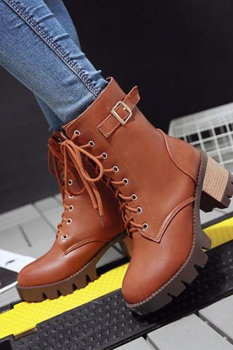Lace Up Middle Chunky Heels Short Martin Boots
