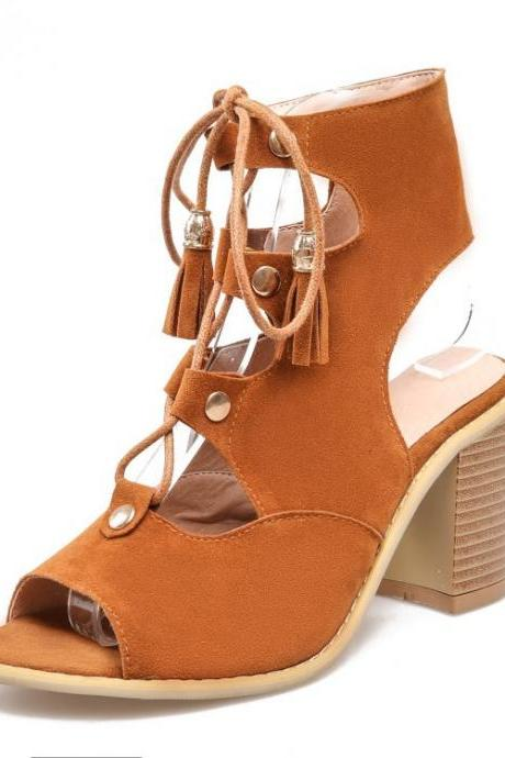 Cut Out Lace Tassels Peep Toe High Chunky Heels Sandals