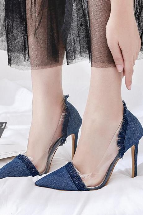 Denim Pointed Toe Transparent Stiletto High Heels