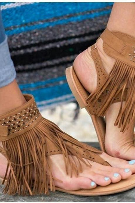 Tassels Ankle Wrap Slip-on Open Toe Flat Sandals
