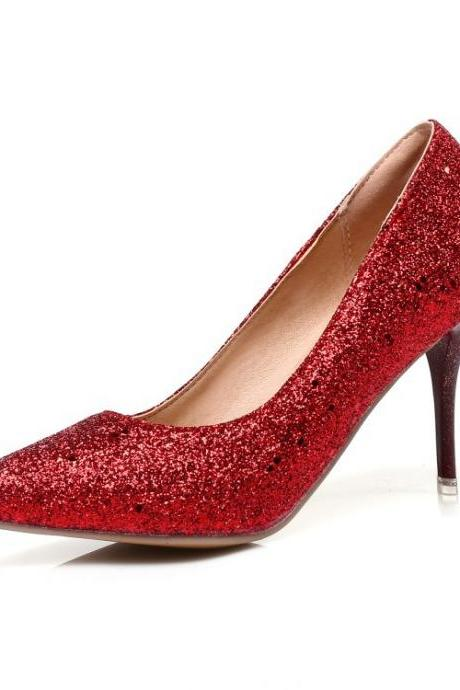 Glitter Pointed-Toe High Heel Stilettos