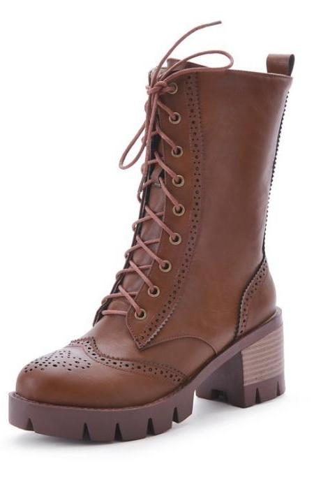 Lace Up Round Toe Platform Low Chunky Heels Short Boots
