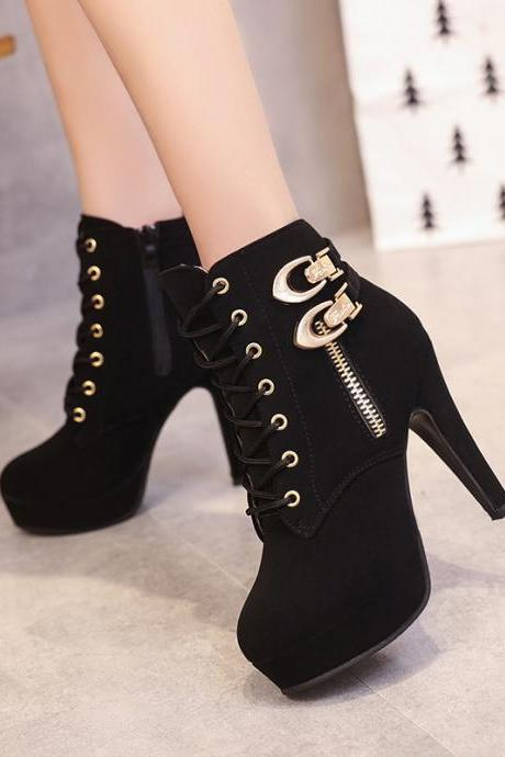 Lace Up Side Zipper Round Toe Stiletto High Heels Short Boots