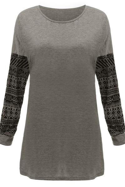 Scoop Print Patchwork Long Sleeves T-shirt