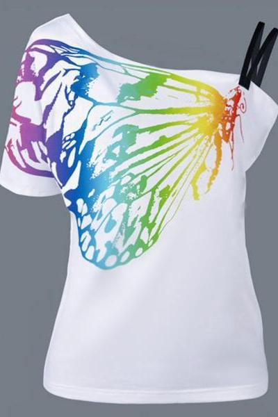 Print One Shoulder Short Sleeves T-shirt