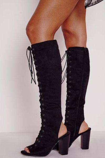 Peep-Toe Lace-Up Knee-High Chunky Heel Boots