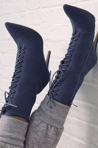 Faux Suede Lace-Up Pointed-Toe High Heel Mid-Calf Boots Featuring Side Zipper