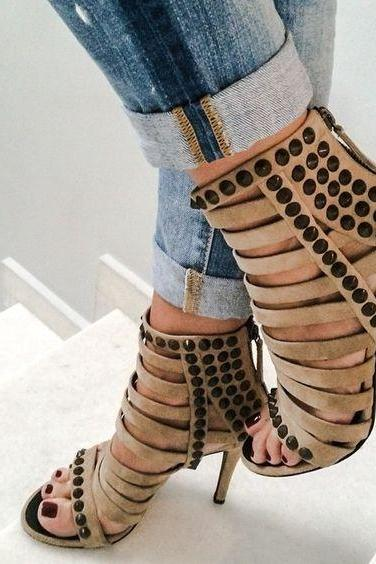 Suede Rivets Straps Open Toe Stiletto High Heels Sandals