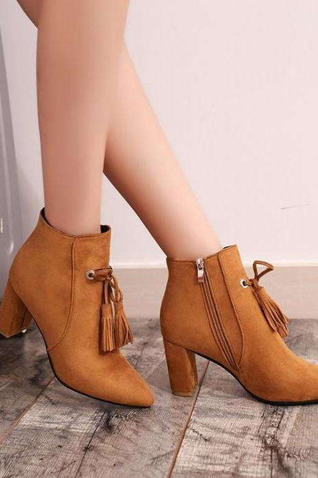 Tassels Side Zipper Pointed Toe Chunky Heels Short Boots