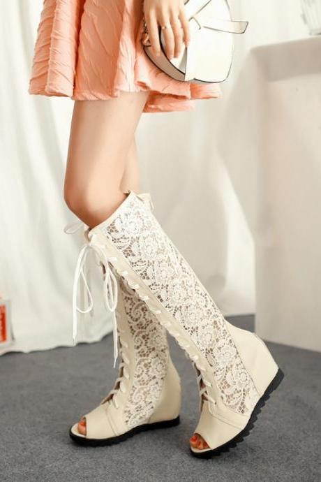 Lace Hollow Out Peep Toe Lace Up Long Boot Sandals