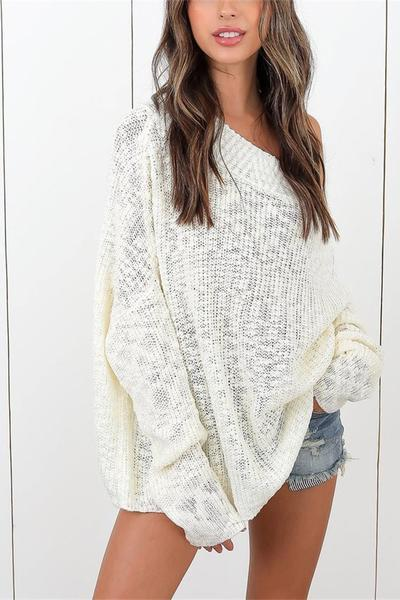 Boat Neckline Loose Long Sleeves Pure Color Sweater