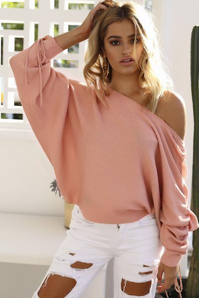 Drawstring Batwing Sleeves Boat Neckline Pure Color Sweater